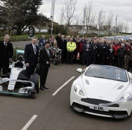 MIRA Technology Park - Completion of Phase One Development, was marked with a cavalcade of MIRA projects and MIRA Technology Park tenant's vehicles to celebrate the end of a five year project. Marcus Jones (Minister for Local Government) Pictured in passenger seat of white Aston Martin drives through the ribbon to officially open the road.
